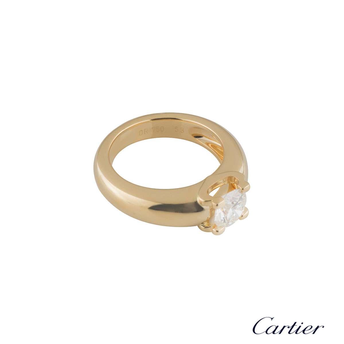 Yellow Gold C De Cartier Diamond Engagement Ring 1.01ct G/VVS2